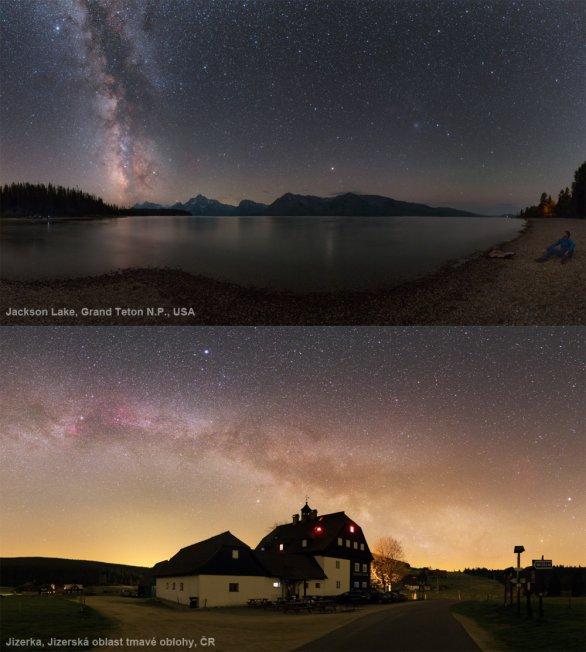 Srovnání noční oblohy nad Grand Tetonem (USA) a Jizerkou (Jizerská oblast tmavé oblohy). Autor: Petr Horálek