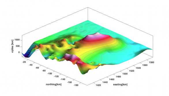 Prostorový pohled na sopku Zuzana. Nadmořská výška dvojkužele přesahuje 1400 m Autor: Astronomický ústav AV ČR
