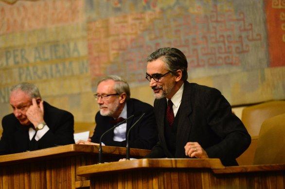 Ke slavnostnímu shromáždění hovoří na tento den obživlý prof. František Nušl. Autor: David Malík.