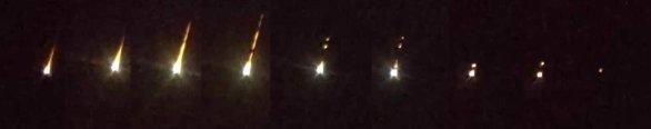 Vybrané detailní záběry bolidu pořízené rychlonavádějícím systémem FIPS ukazující postupný rozpad meteoroidu. Časový vývoj letu bolidu je zleva doprava. Autor: AsÚ AV ČR