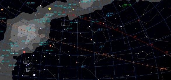 Dráha planetky Phaethon (červenou čarou) mezi 12. až 20. prosincem 2017 na obloze. Autor: Martin Mašek, Guide9