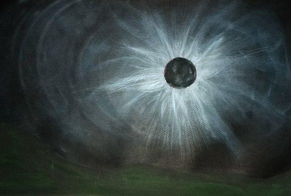 Kresba úplného zatmění Slunce Autor: Tereza Prokopová