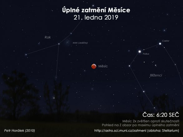Obloha při úplném zatmění Měsíce 21. ledna 2019. Autor: EAI/Petr Horálek.