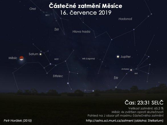 Obloha při částečném zatmění Měsíce 16. červnce 2019. Autor: EAI/Petr Horálek.