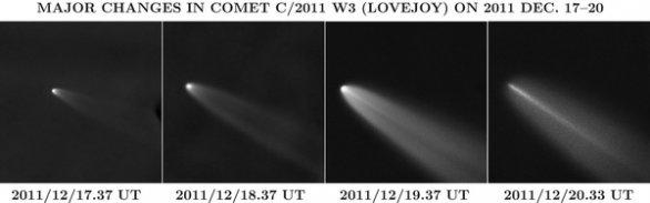 Rozpad kométy C/2011 W3 (Lovejoy), pozorovaný robotickým teleskopom FRAM, snímal Jan Ebr. Autor: Fyzikální ústav AV ČR v. v. i.