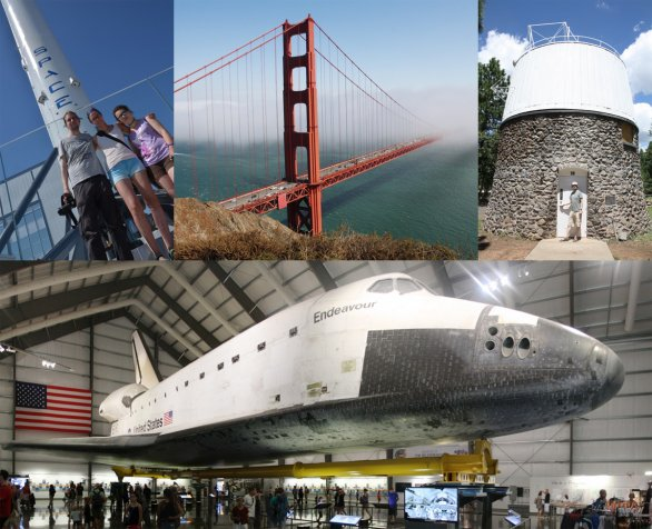 Miesta, ktoré fanúšik vesmíru a kozmonautiky musí vidieť! Hore: prvný stupeň rakety Falcon9, Golden Gate Bridge, kupola Lowell Observatory, odkiaľ bolo objavené Pluto. Dole: raketoplán Endeavour v California Science Center, Los Angeles. Autor: Martin Mašek