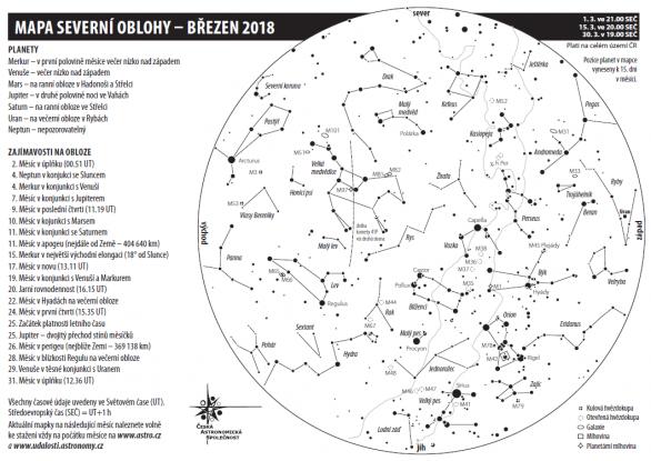 Mapa oblohy v březnu 2018 Autor: Aleš Majer