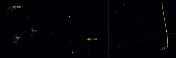 Přehledová mapka k vyhledání trojice galaxií ve Lvu