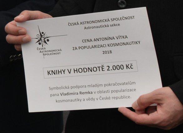 Symbolický šek pro účastníky soutěže Expedice Mars Autor: Astronautická sekce ČAS