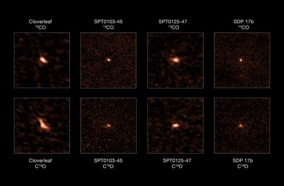 Mozaika  snímků čtveřice galaxií s překotnou tvorbou hvězd jak je zachytil teleskop ALMA. Snímky v horní řadě představují pro každou galaxii záznam emise molekuly 13CO, dolní řada pak ukazuje emise molekuly C18O. Poměrné zastoupení těchto izotopologů molekuly CO astronomům umožnilo určit, že sledované galaxie mají přebytek hmotných hvězd. Autor: ALMA (ESO/NAOJ/NRAO), Zhang et al.