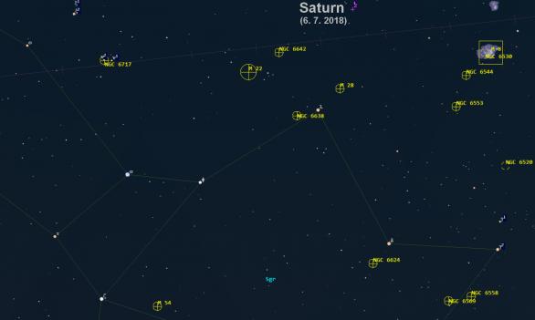 Přehledová mapka Střelce mimo jiné s kulovou hvězdokupou M 54. Guide 9