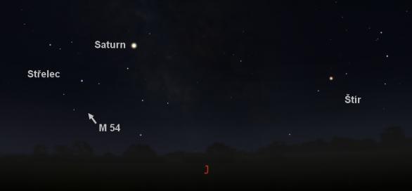 Střelec a Štír ve Stellariu s vyznačenou polohou kulové hvězdokupy M 54