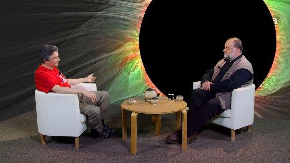 Profesor Miloslav Druckmüller a Jindřich Suchánek, moderátor pořadu Hlubinami vesmíru Autor: TV Noe