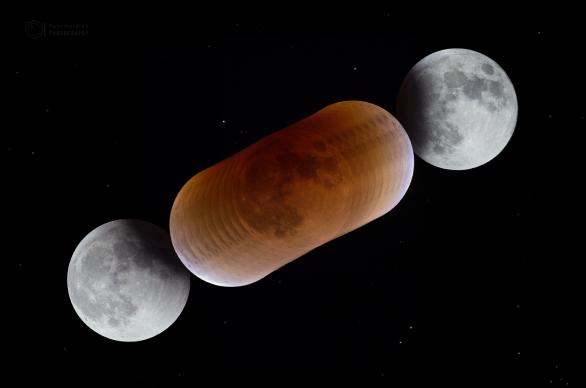 Průběh zatmění Měsíce a barvy v zemském stínu během úkazu 31. ledna 2018. Autor: Petr Horálek.