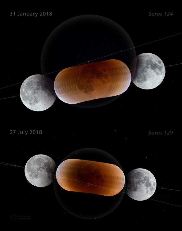Sekvence obou měsíčních zatmění roku 2018 pořízené identickou technikou a zpracované identickým postupem (barvy, fotometrie, míra doostření). Měsíc vstupuje vždy zprava do stínu, prostupuje jim směrem doleva. Linie ukazují orientaci ekliptiky a křížky na nich pak střed zemského stínu. Kromě porovnání barev a tmavosti stínu lze zřetelně porovnat i velikost Měsíce v době obou úkazů - zatímco v lednu byl úplněk prakticky v přízemí, v červenci naopak v odzemí. Oba úplňky dělí přibližně 13% rozdíl úhlové velikosti, díky fyzické vzdálenosti Slunce od Země byl stín při červencovém zatmění na obloze ještě menší než lednový, na snímku zhruba o 24 procent. Sekvence byla ovšem složena na hvězdy, takže není zvážena paralaxa (měnící se úhlová odchylka Měsíce proti hvězdám při jeho postupu výš nad obzor), která by tento rozdíl zmenšila na přibližně 21 procent. Autor: Petr Horálek.