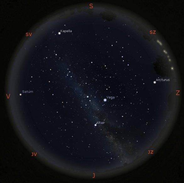 Simulace vzhledu oblohy v programu Stellarium 20. srpna 1968 ve 23:00 SELČ