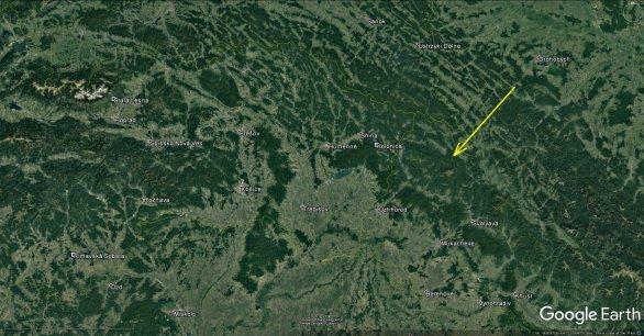 Dráha bolidu z Persea 12. srpna 2018 (EN120818) nad územím Ukrajiny. Autor: Google/Pavel Spurný, Astronomický ústav AV ČR.