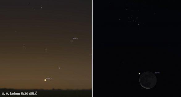 Merkur a Měsíc 7. a 8. září 2018. Simulace: Stellarium