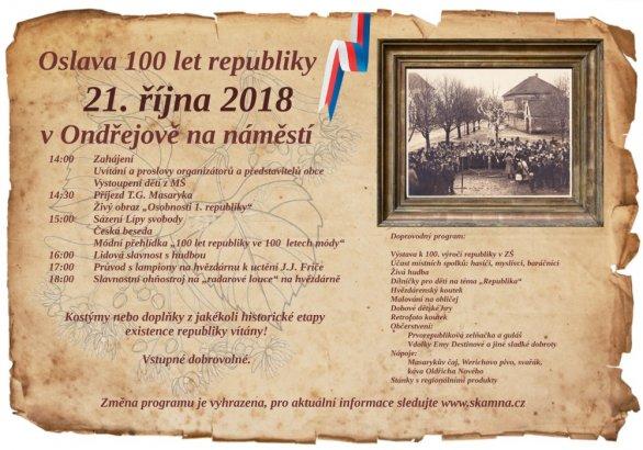 Pozvánka na oslavu 100 let republiky v Ondřejově Autor: Obec Ondřejov