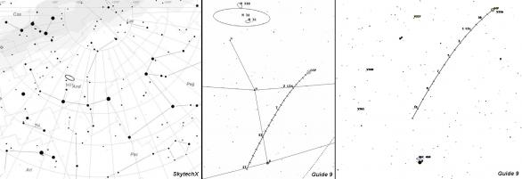 Mapka poloh komety 64P/Swift-Gehrels ve 44. a 45. týdnu 2018. Poloha značek pro 19 hod SEČ.
