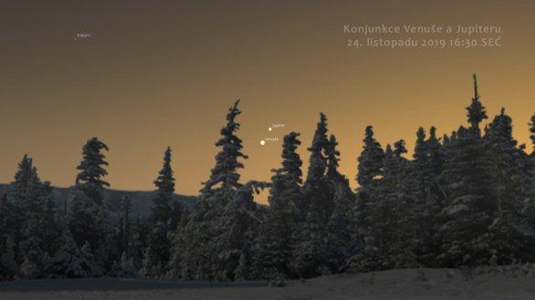 Konjunkce Jupiteru a Venuše 24. listopadu 2019. Autor: Stellarium.