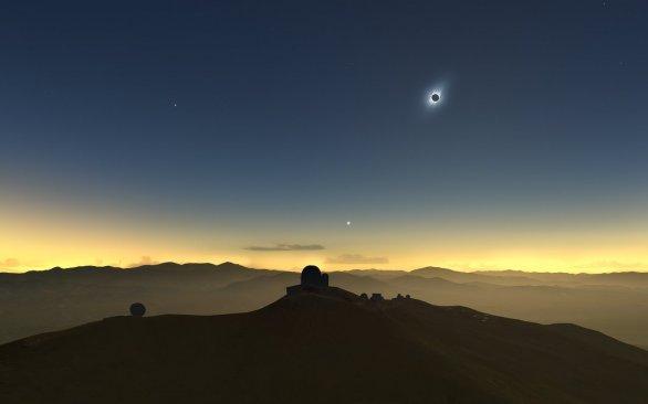 Zatmění Slunce 2. července 2019 bude také vidět z observatoře ESO La Silla. Autor: M. Druckmüller, P. Aniol, K. Delcourte, P. Horálek, L. Calçada/ESO
