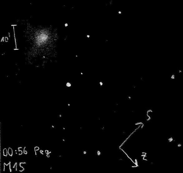 Kresba kulové hvězdokupy M15 v souhvězdí Pegase Autor: Vojta Klimeš