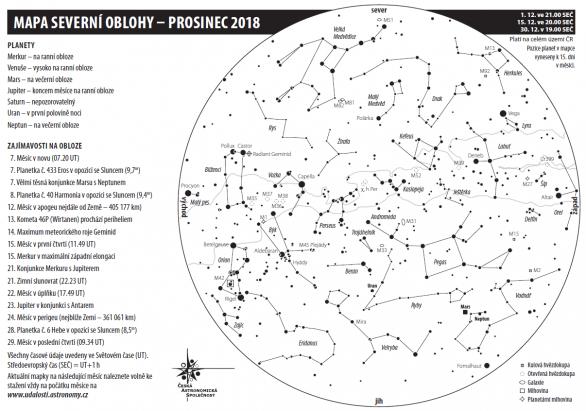 Mapa oblohy na prosinec 2018 Autor: Aleš Majer