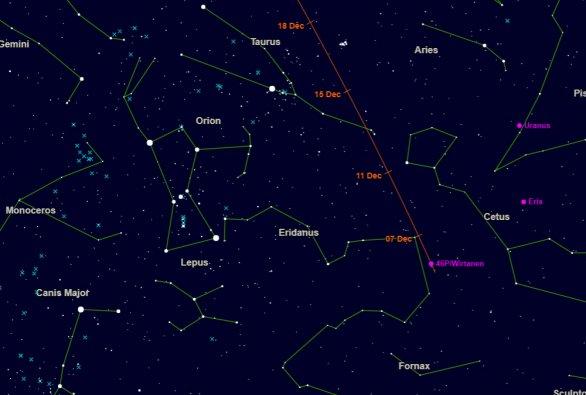 Mapka pro nalezení komety Wirtanen. Autor: Astronomy Edinburgh.