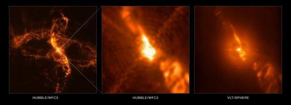 Širokoúhlý záběr okolí dvojhvězdy R Aquarii (HST, vlevo a ve středu) ve srovnání s detailním snímkem centrální oblasti (ZIMPOL/SPHERE/VLT) Autor: ESO/Schmid et al./NASA/ESA