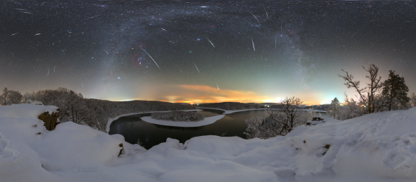 Geminidy 2018 nad zimní Sečí - 360stupňový výhled. Autor: Petr Horálek.