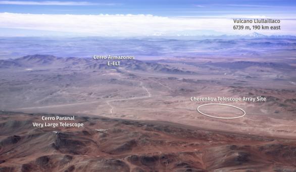 Umístění jižní části CTA poblíž Cerro Paranal (VLT) a Cerro Armazones (E-ELT) Autor: ESO