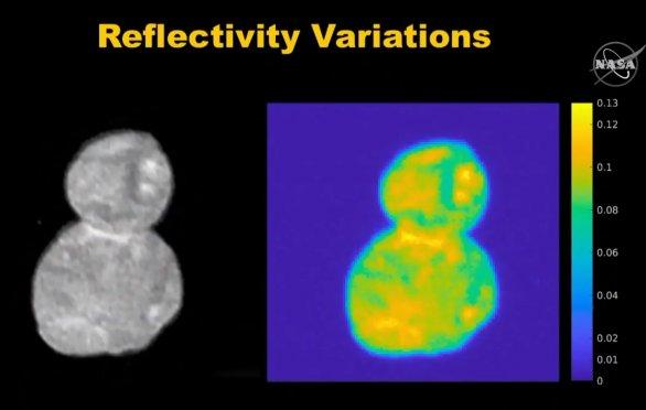 Odrazivost Ultimy Thule je asi 6 až 14 % Autor: NASA/JHUAPL/SWRI