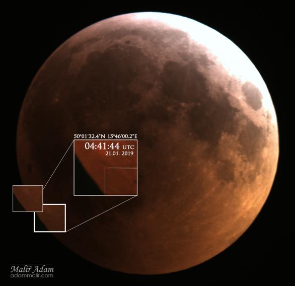 Záznam dopadu malého asteroidu na měsíční povrh 21. ledna 2019. Autor: Adam Malíř
