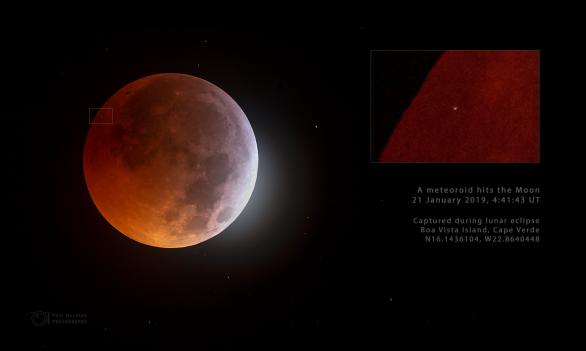 Měsíc během zatmění 21. ledna 2019 zasáhl malý asteroid. Autor: Petr Horálek.