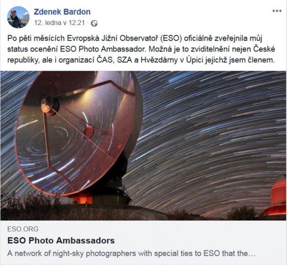 Zdenek Bardon informuje o získání funkce Fotovyslance ESO na svém facebooku. Autor: Archiv Zdenka Bardona.