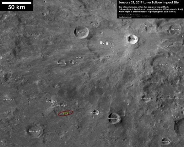 Předpokládané místo dopadu malého asteroidu během zatmění Měsíce 21. ledna 2019 (označeno oválem vlevo dole od středu). Autor: Justin Cowart.