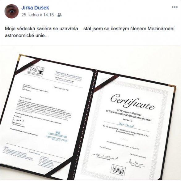 Jiří Dušek se stal Čestným členem Mezinárodní astronomické unie. Autor: Archiv Jiřího Duška.