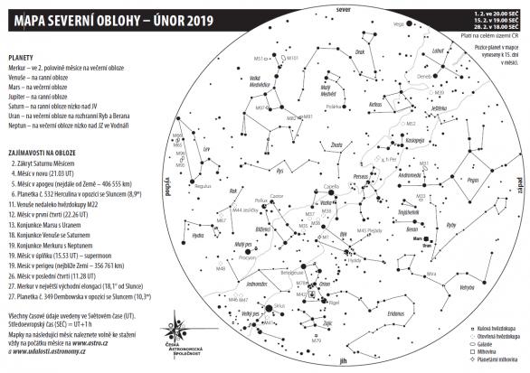 Mapa oblohy s úkazy v únoru 2019 Autor: Aleš Majer