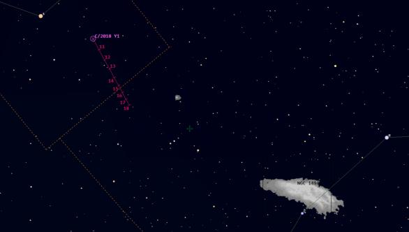 Pohyb komety C/2018 Y1 (Iwamoto) v 11. týdnu roku 2019 (Guide 9)
