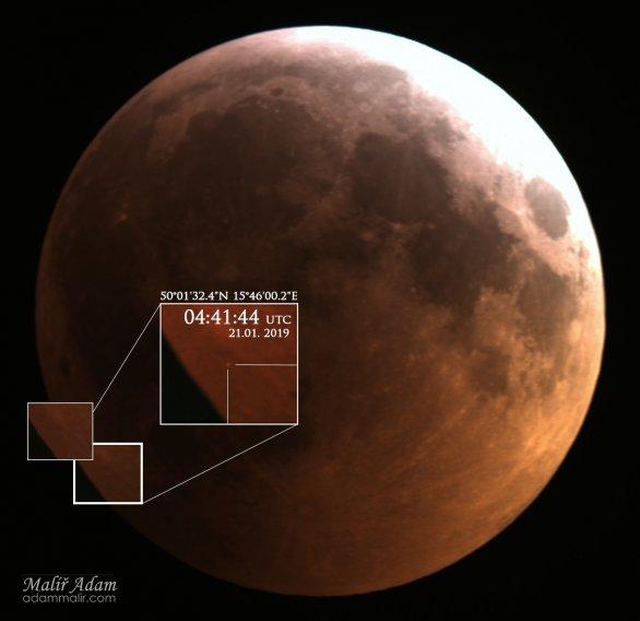 Snímek Náraz tělesa do Měsíce těsně před jeho úplným zatměním Zemí. Autor: Adam Malíř