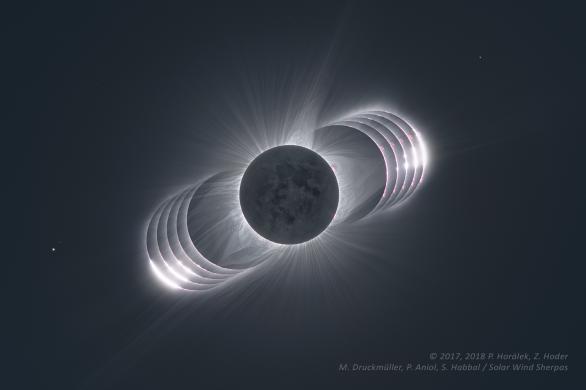 Perly slunečního zatmění 2017. Autor: Petr Horálek, Zdenek Hoder, Miloslav Druckmüller, Solar Wind Sherpas.