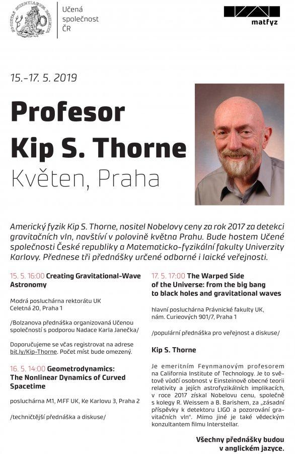 Legendární Kip Thorne přednáší v květnu 2019 v Praze. Autor: Učená společnost ČR