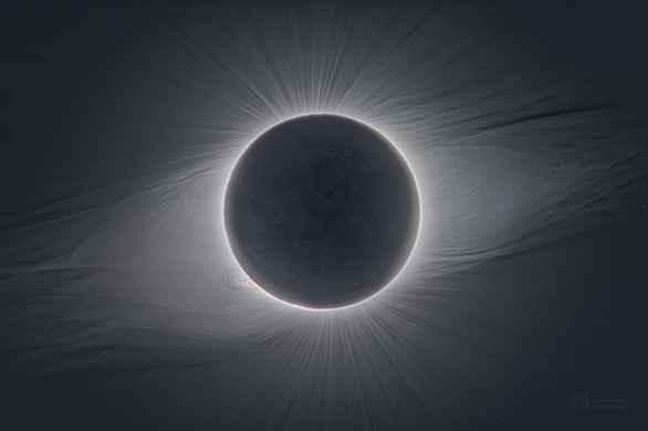 Zatmění Slunce 2. července 2019 zachycené z observatoře La Silla. Autor: Petr Horálek.