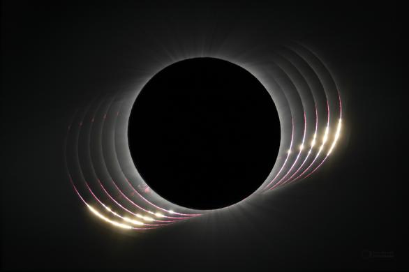 Bailyho perly při úplném zatmění Slunce 2. července 2019. Autor: Petr Horálek/ESO.