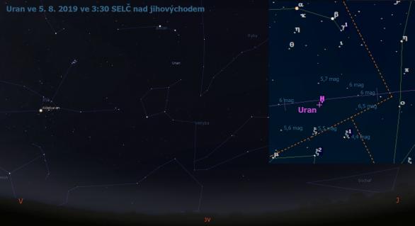 Uran v srpnu 2019, mapa s jasem okolních hvězd (Stellarium, Guide 9)
