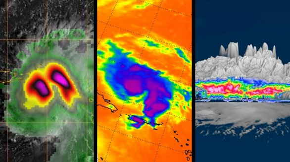 Tři různé pohledy na tropickou bouři/hurikán Dorian z družice Aqua, TEMPEST-D a CloudSat