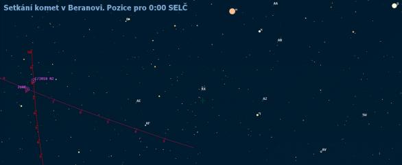 Setkání komet v souhvězdí Berana v prvním zářijovém týdnu roku 2019 (mapa z Guide 9)