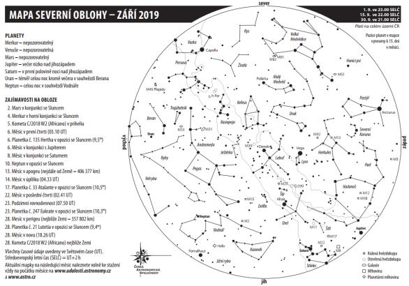 Mapka oblohy s úkazy na září 2019 Autor: Aleš Majer