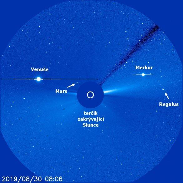 Okolí Slunce pohledem korónografu SOHO Autor: NASA/ESA